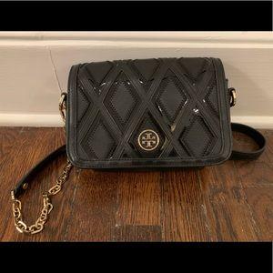 Tory Burch black leather crossbody purse